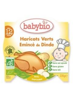 Assiette Menu Haricots Verts et Emincé de Dinde Bio - Babybio