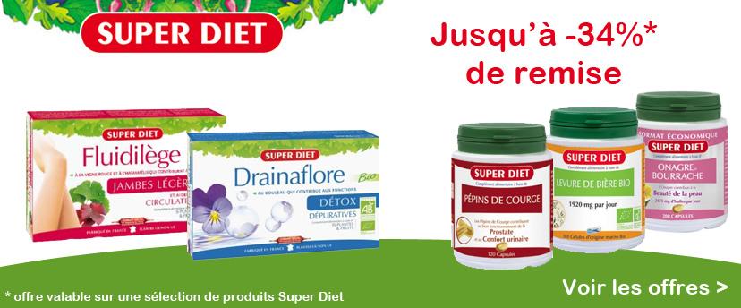 Jusqu'à -34% de remise sur une sélection de produits SUPER DIET