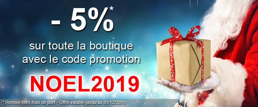 5% sur toute la boutique en ligne avec le code promotion NOEL2019