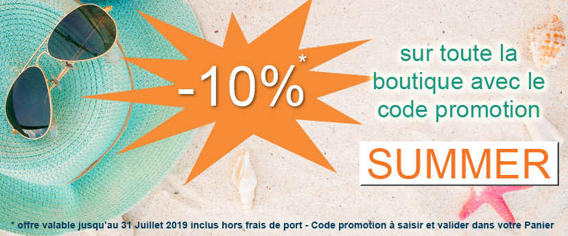 -10% sur toute la boutique en ligne avec le code promotion SUMMER