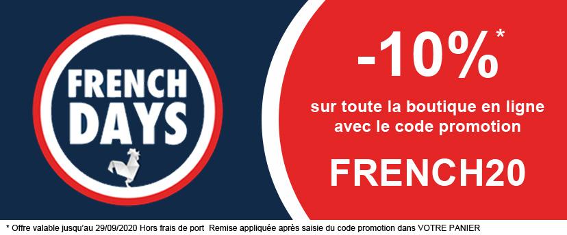 -10% sur toute la boutique en ligne avec le code promotion FRENCH20
